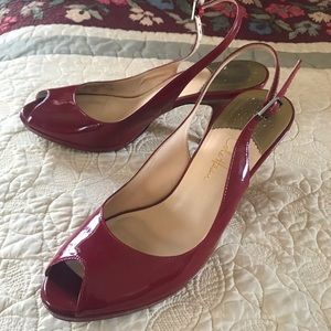 Cole Haan red patent peep toe pumps, 8.5! So sexy!